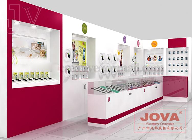 烤漆手机展柜展台 商场手机展柜展厅 手机展柜效果图